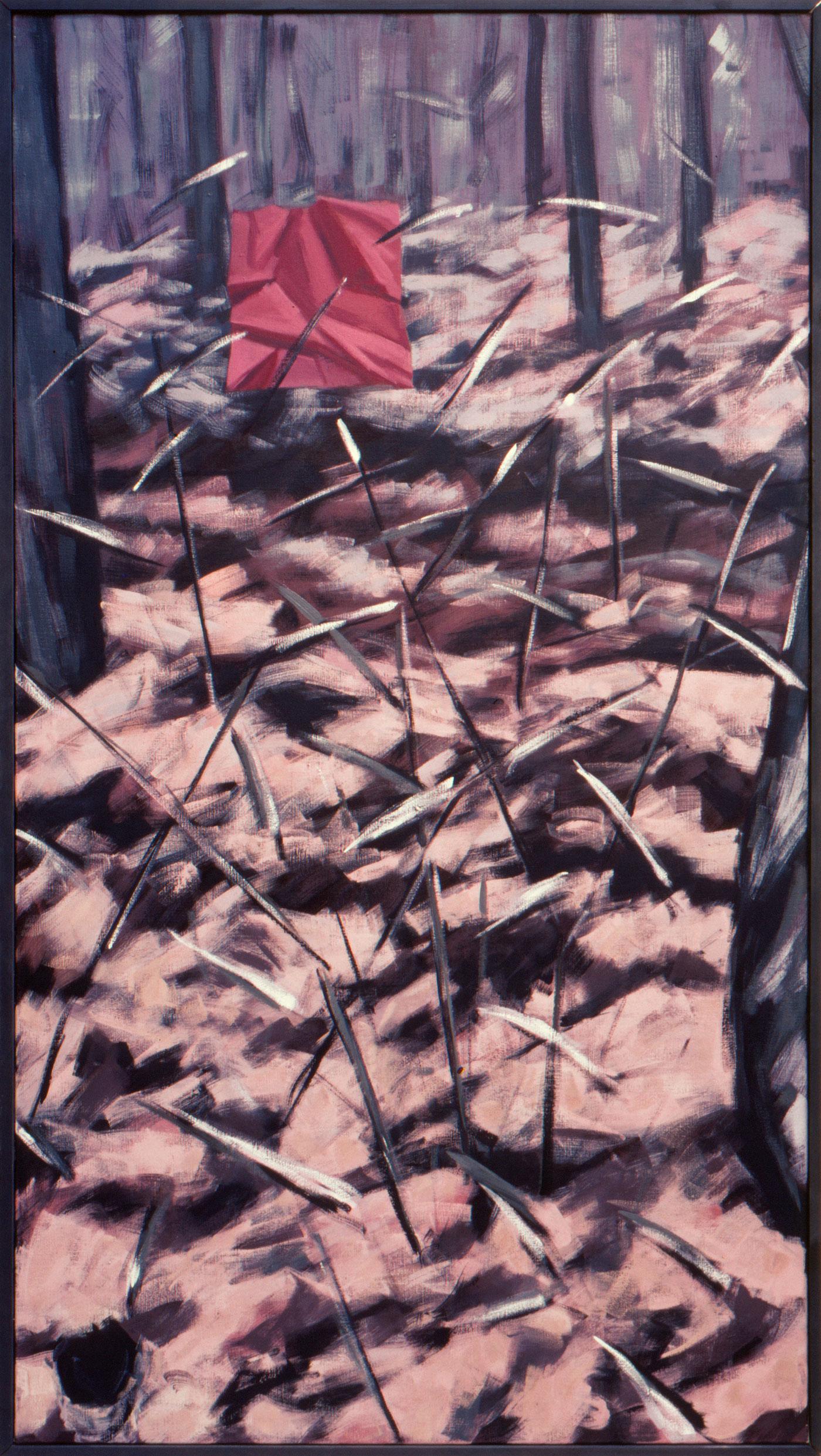 Bos met rood vierkant 1984 200x100
